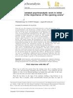 Wegner Process Orientated Psychoanalytic Work