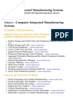 Computer Integrated Manufacturing Systems - Lecture Notes, Study Materials and Important questions answers