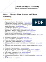 Discrete Time Systems and Signal Processing - Lecture Notes, Study Materials and Important questions answers