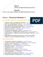 Electrical Machines I , II - Lecture Notes, Study Materials and Important questions answers