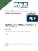 Nte Inen 1076 - Prevención de Incendios. Clasificación e Identificación de Sustancias Peligrosas en Presencia de Fuego