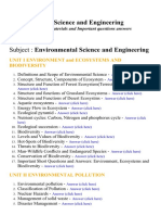 Environmental Science and Engineering - Lecture Notes, Study Materials and Important questions answers
