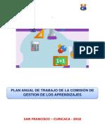 Plan-De-Comisión de Gestión de Los Aprendizajes I.E. 30535 - 2018