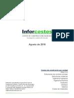 Costos de Construcción en México Agosto 2016
