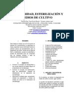 LABORATORIO N°1 BIOSEGURIDAD, ESTERILIZACIÓN Y MEDIOS DE CULTIVO