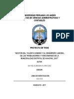 Gestion de Talento Humano y El Desempeño Laboral en La Municipalidad Distrital de Huachac