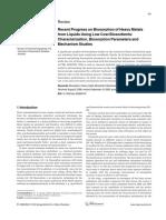Recent Progress on Biosorption of Heavy Metals From Liquids Using Low Cost Biosorbents.
