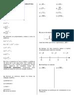 Exercícios de Revisão Potenciação e Radiciação - 1BIM9