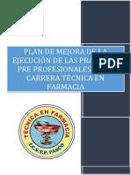 Plan de Mejora de Prácticas de La Carrera de Farmacia