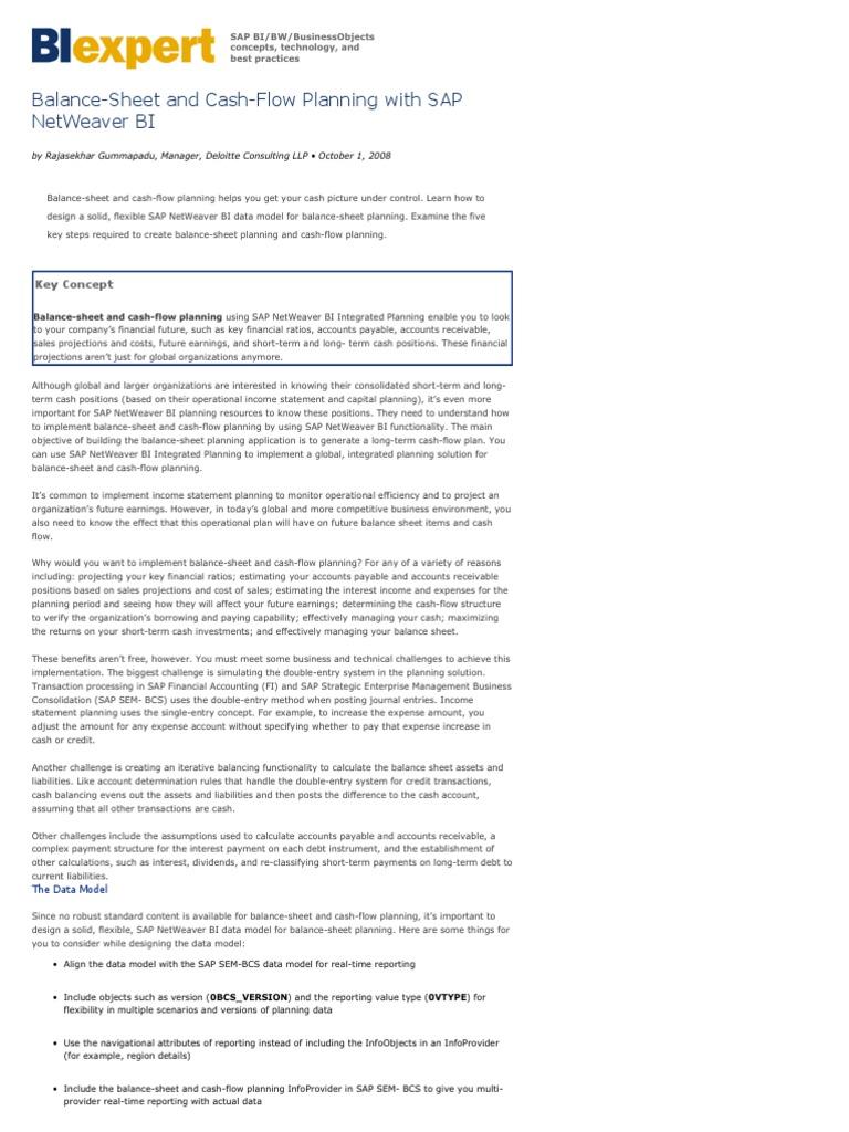 balance sheet and cash flow planning with sap netweaver bi balance