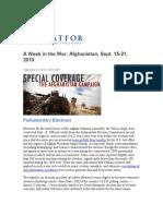 A Week in the War Afghanistan, Sept. 15-21, 2010