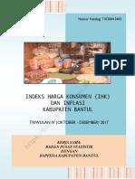Indeks Harga Konsumen (IHK) Dan Inflasi Kabupaten Bantul Triwulan IV(Oktober-Desember) 2017
