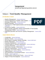 Total Quality Management - Lecture Notes, Study Materials and Important questions answers