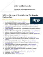 Structural Dynamics and Earthquake Engineering - Lecture Notes, Study Materials and Important questions answers