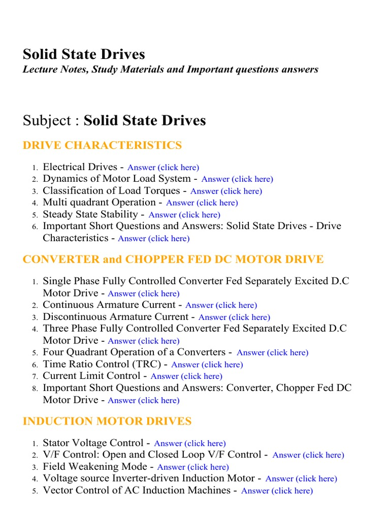 Solid State Drives Lecture Notes Study Materials And Important Stator Voltage Control Of Three Phase Induction Motor Fed By Questions Answers Theory Engines