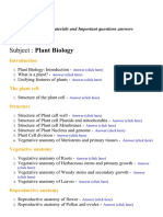 Plant Biology- Lecture Notes, Study Materials and Important questions answers
