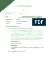 Especificaciones Tecnicas Aulas y Ss.hh.