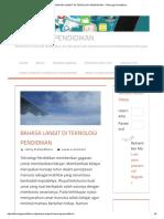 Bahasa Langit Di Teknologi Pendidikan – Teknologi Pendidikan