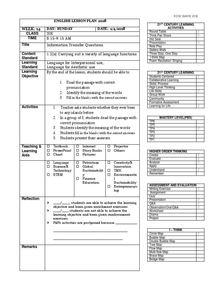 Lesson Plan Form 1 Form 3 Educational Assessment Lesson Plan