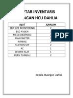 Daftar Inventaris Ruangan Hcu Dahlia