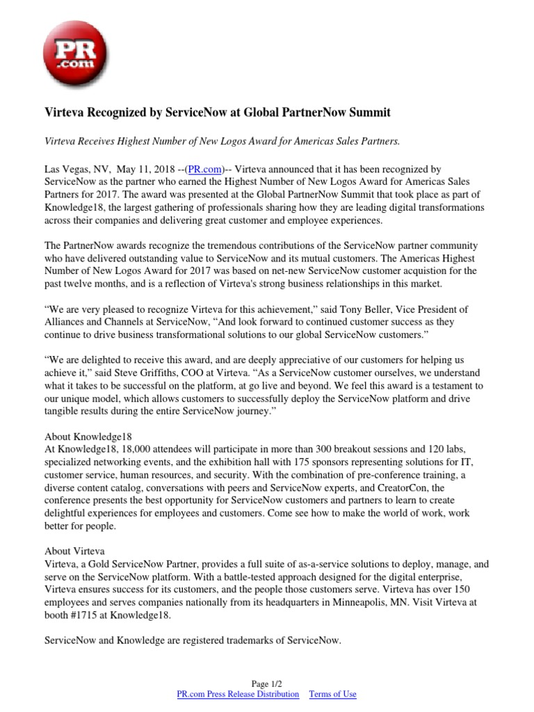 Virteva Recognized by ServiceNow at Global PartnerNow Summit