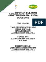 Teks Ucapan KP Kimia Perhimpunan Bulanan Ogos 2016