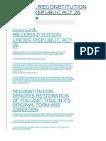 Judicial Reconstitution Under Republic Act 26