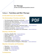 Nutrition and Diet Therapy - Lecture Notes, Study Materials and Important questions answers