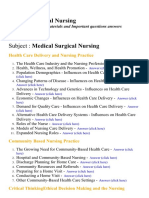 Medical Surgical Nursing - Lecture Notes, Study Materials and Important questions answers
