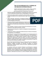Perfil Profesional de Un Egresado de La Carrera de Administraion de Negocios Internaionales