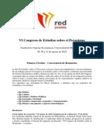Primera Circular VI Congreso de Estudios Sobre El Peronismo