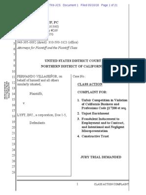 VILLASEÑOR V LYFT   Class Action   Lawsuit