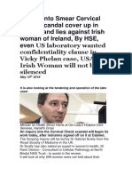 Inquiry Into Smear Cervical Check Scandal Cover Up in Murder and Lies Against Irish Woman of Ireland, By HSE, Even US Laboratory Wanted Confidentiality Clause in Vicky Phelan Case, USA, The Irish Woman Will Not Be Silenced
