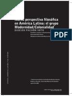 Pachón Damián. Nueva perspectiva filosófica en América Latina. El grupo Modernidad Colonialidad