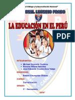 Caratula Monografia La Educacion en El Peru