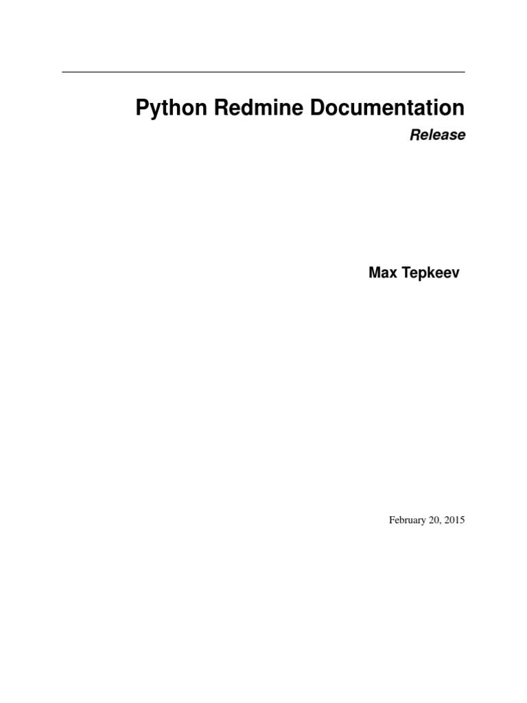 Python-Redmine pdf | Python (Programming Language) | Hypertext