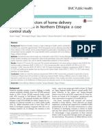 Determinan Faktor Persalinan Di Rumah Di Kalangan Wanita Di Etiopia Utara Studi Kasus Kontrol