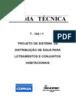 T-104-1 – Norma Técnica – Projeto de Sistema de Distribuição de Água Para Loteamentos e Conjuntos Habitacionais