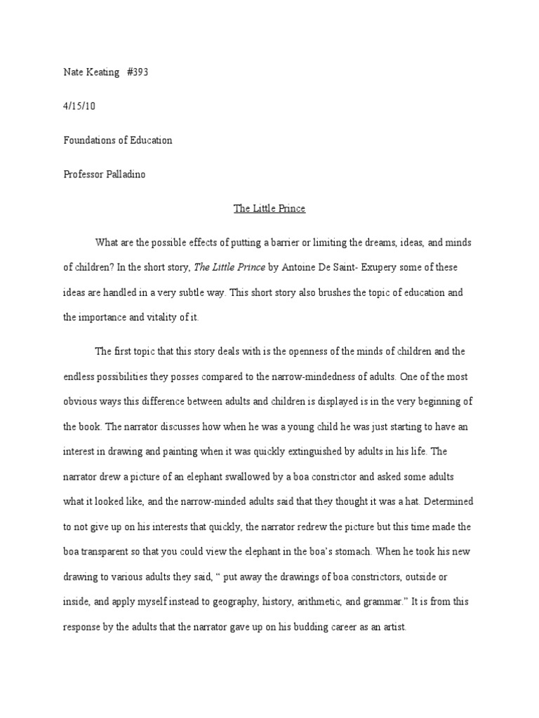 Little prince essay
