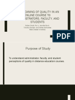 Quality Study Presentation Brief