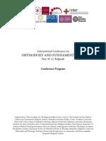 Program Conference Orthodoxy and Fundamentalism