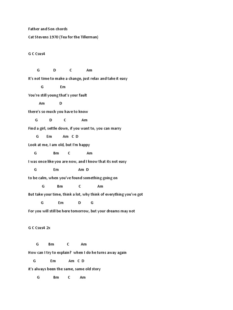 Father and Son Chords   Leisure   Entertainment General