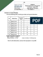 Project Management - EMPC03 - Test Exam 10-04 2018