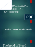 Cultural, Social and Political Institutions