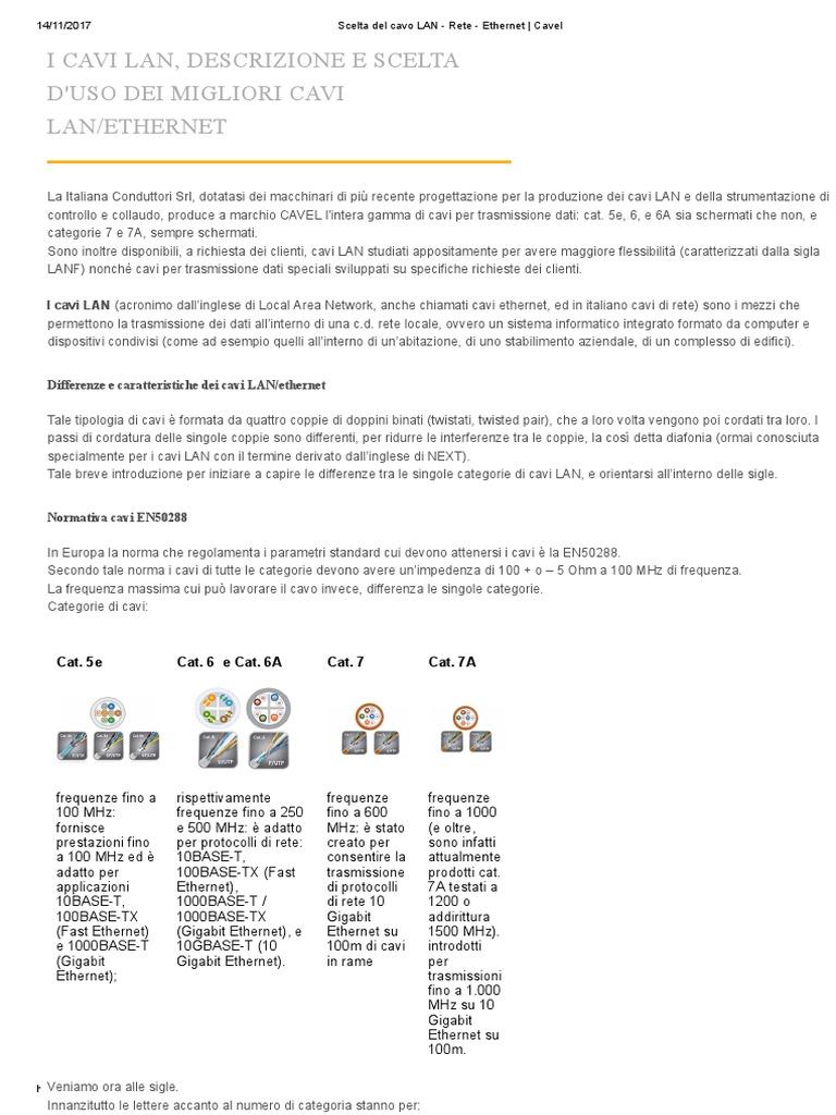 Scelta Del Cavo LAN - Rete - Ethernet   Cavel 38c25b87d287