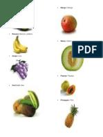 15 Frutas y Verduras en Ingles y Español