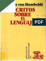 Humboldt w 1991 Escritos Sobre El Lenguaje Barcelona Penc3adnsula