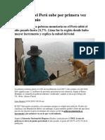Pobreza en El Perú Sube Por Primera Vez en Este Milenio