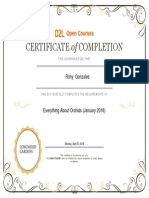 Longwood Gardens Certificate of Course Completion
