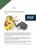 Threats of Trade War Between China and USA